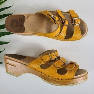 Troentorps Leather Wood Clog Sandals 39